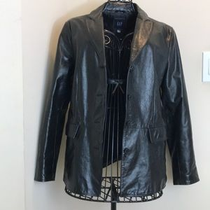 GAP Black Leather 4-Button Blazer Size M